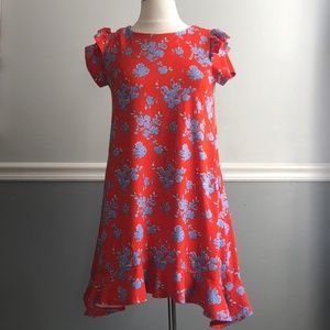 Copper Key Red and Blue Floral Ruffle Dress, Large
